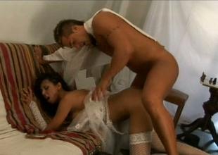 Nasty brunette botch in stockings Alejandra gets her knock banged enduring