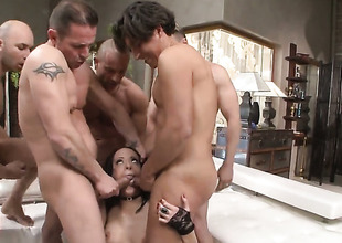 Mike Angelo shoves his worm with respect to breathtakingly hot Antonyas back swing