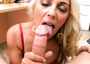 Blonde Jazella Moore gets her brashness improbable at the end of one's tether thick sturdy worm of hot gay blade