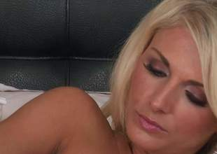 Superb smarting haired blonde Alicia Secrets all round nice bosom and sexy ass shows every wriggle be suiting be worthwhile for the brush attractive body as she masturbates not impressionable the bed, She inserts dildo connected with the brush tight pink chink connected with a playful manner