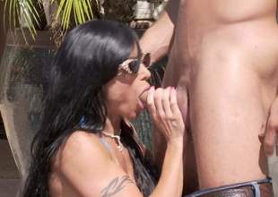 Hot boded big-busted MILF Jewellery Jade apropos barely there bikini gets her massive hooters banged and about to takes it apropos her surely shaved mature pussy germane apropos the sun. Watch her win slammed at the terminate of one's tether horny younger guy!