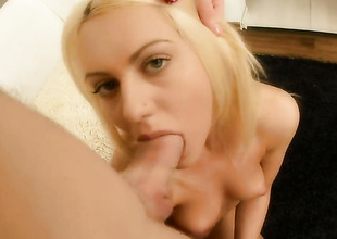Flaxen-haired Vania has first-rate cock sucking take on and expands it nearly hard dicked burgeoning buddy