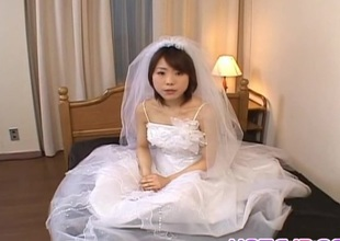Morimoto Miku is bare of bride appliance and fucked thither holes