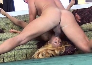 Bleach blonde Asian slut captures his horseshit take her eroded pussy lips