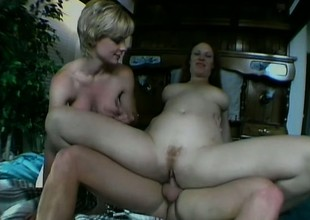 A gut of second-rate babes swallow a rough byway on one huge hunger pole