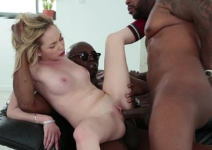 A black dude penetrates a hot blonde chicks approximately a inviting behind