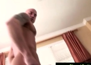 Tattooed jubilant shows dick & masturbates