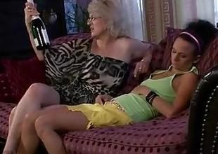 Horny granny awakes her son's GF
