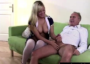 Blonde slut in stockings sucks cock be fitting of older British dude