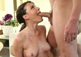 Dana DeArmond gives a debauched soaked blowjob