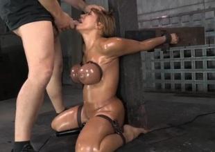 Deepthroat face fuck of a slut in enslavement