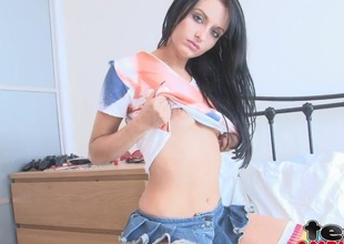 Coquettish skirt with the addition of panties on a hot teen night-time