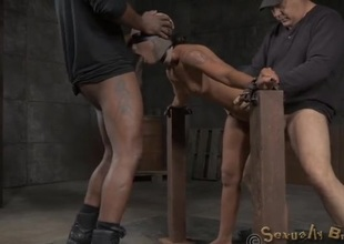 Inked lean spread out romp in a lock-up with an increment of banged