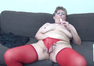 Mature unspecified nearly down in the mouth red stockings