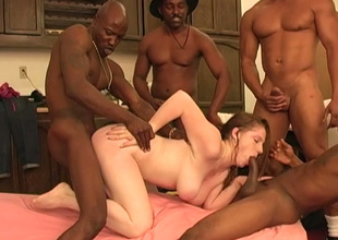 Boobalicious sexpot Jennifer gets dominated by yoke fat black cocks
