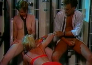 This dude has an awesome trio with twosome coition frenzied bimbos