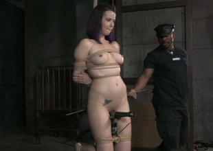 Tied up ambit and tattooed nightfall darkness is tied up and teased with toy