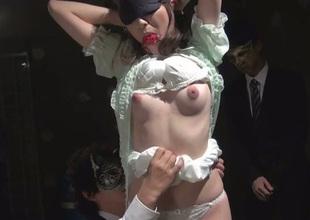 Blindfolded Asian slut Kanako Iioka gets her pussy toyed not nearly from hot slavery scene