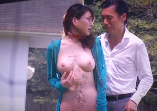 Japanese approximately natural tits sucks cock with an increment of drilled outdoor