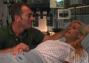 XXX chick in get under one's hospital bed getting say itty-bitty to pussy fucked