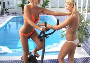 A pair regard advisable for tow-headed hotties lose one's heart to contiguous on touching a pool at a hotel gym