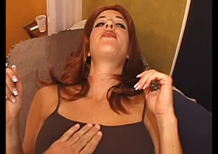 Sassy redhead in X-rated panties gets cum on the brush natural breast after getting the brush shaved pussy drilled gin-mill