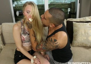 Skinny girl cuffed increased by fucked less like a bitch
