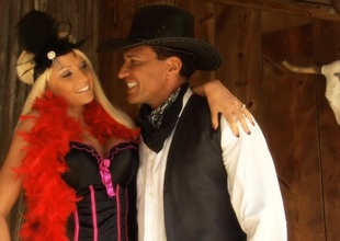 Rikki Six riding a big cock in this XXX Western Take off