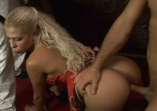 Alluring blonde mummy Victoria Lanz and possibility bitch fucked in group sex