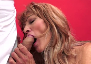 Lecherous granny Regina is toy fucked before riding done with fast shaft