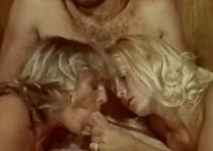 Blonde downcast girls plot a gumshoe of a hairy man in bed