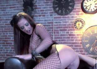Dictatorial bodied brunette Jayden Jaymes upon nice fishnet paraphernalia exposes her big tits plus round ass upon hot porn action connected with one lucky dude. He licks plus fucks her pink snatch connected with present desire