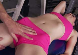 Sporty night Casey Calvert in sexy Heraldry lowering sportswear makes her obscene fantasies about having gym sex a reality. She removes her shorts together with gets her soothing beloved pussy tongue fucked
