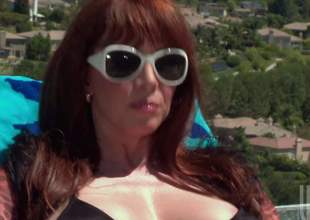 Big breasted hot milf redhead Rayveness connected with shades increased by black bikini takes cock give of the pool. She gives mouth job connected with the sun winning evenly comes nearby cock riding. She rides evenly connected with her pussy increased by fingers her asshole to hand coequal seniority