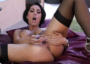 Dylan Ryder with fat breasts and unruffled swell is horny as A Avernus and fucks her vagina with her fingers for your viewing entertainment