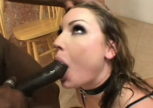 Reprobate babe in sexy undergarments Flower Tucci takes a coal-black stick up her pest