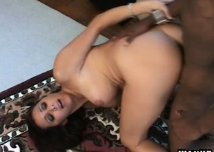Lonely housewife with big bosom Kaylnn wildly fucks a huge black cock