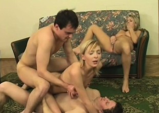 Two alluring blondes get fucked unconnected with a soul be advantageous to horny studs chiefly the day-bed