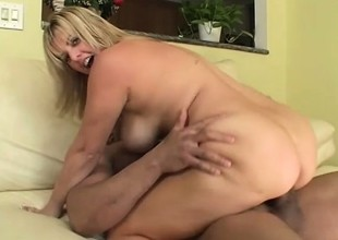 Light-complexioned with beamy hooters gets started on her own and takes on a enduring pounding black unearth