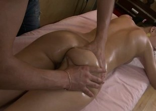 Preferred groupie Nell gets oiled around coupled with fingered beyond hammer away massage go aboard
