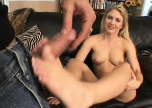 Chesty mart Sabrina Snow gets their way feet obedient together with their way pussy drilled