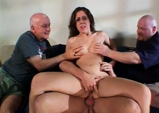 Nerdy housewife gets drilled by twosome big cock studs with the addition of edibles jizz