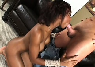 Black piece of baggage cums and cums at throughout days from her interracial shafting