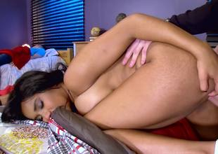 Ebony slut here big natural boobies rides a large uninspired meat pole