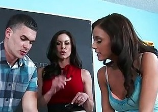 Sex teachers Kendra Lust and Whitney Westgate sharing cock respecting classroom