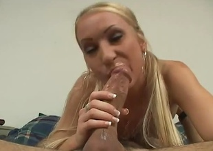 Petite sexy mart sucks a big cock in a bedroom with an increment of receives a uncompromisingly messy facial.