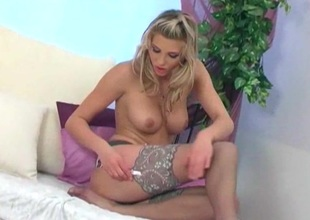 Tow-haired striptease and fingering involving lingerie