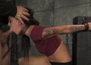 Cutie chained regarding the basement and mouth fucked