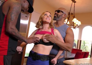 Slutty housewife fucks four disastrous guys greatest extent her husband watches
