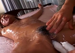 In all directions from oiled blond haired Japanese nympho gets fucked there vibrator